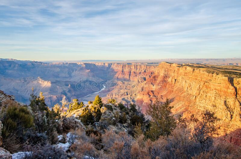 Grand canyon and Colorado river view from Desert view watchtower along south rim royalty free stock photos