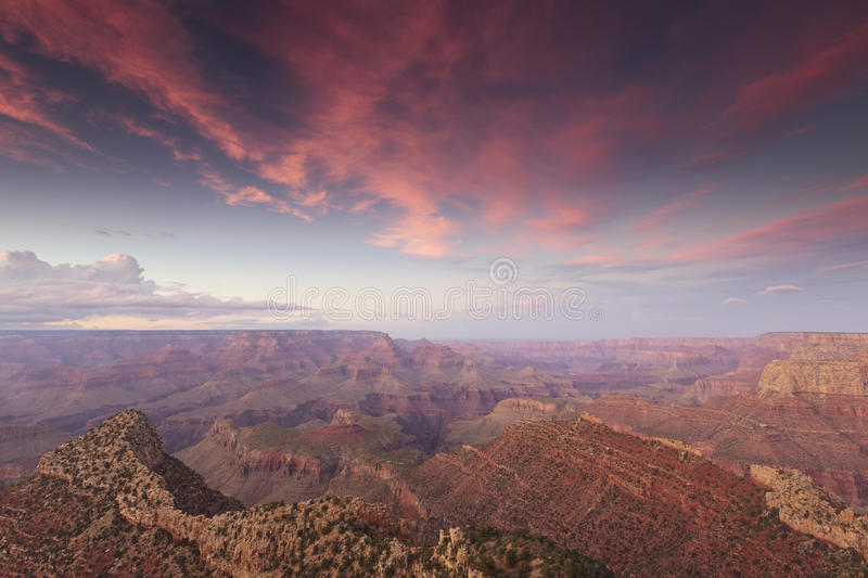 View of Grand Canyon at sunset. Sunset view of Grand Canyon near Grandview Point with Horseshoe Mesa in the distance royalty free stock photography