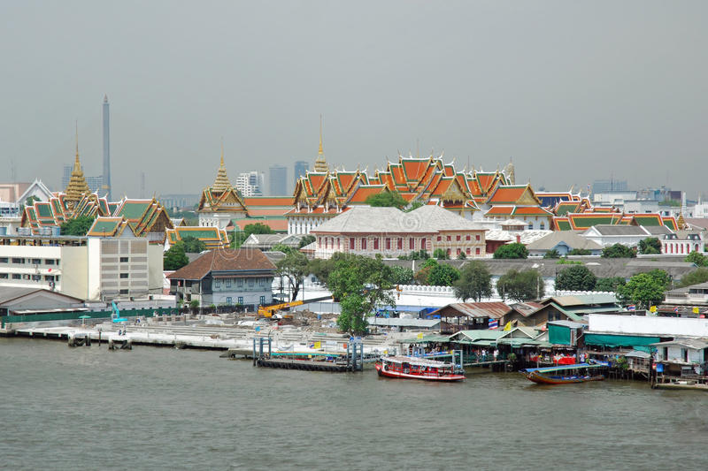 View Grand Palace from Chao Phraya River Bangkok. View of Grand Palace and Cityscape of the city of Bangkok (Thailand) from the Chao Phraya River (Mae Nam Chao stock photo