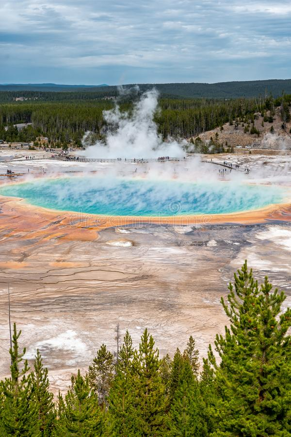 Grand Prismatic Spring and the landscape nature in Yellowstone national park in Wyoming , United States of America. View of Grand Prismatic Spring and the royalty free stock images