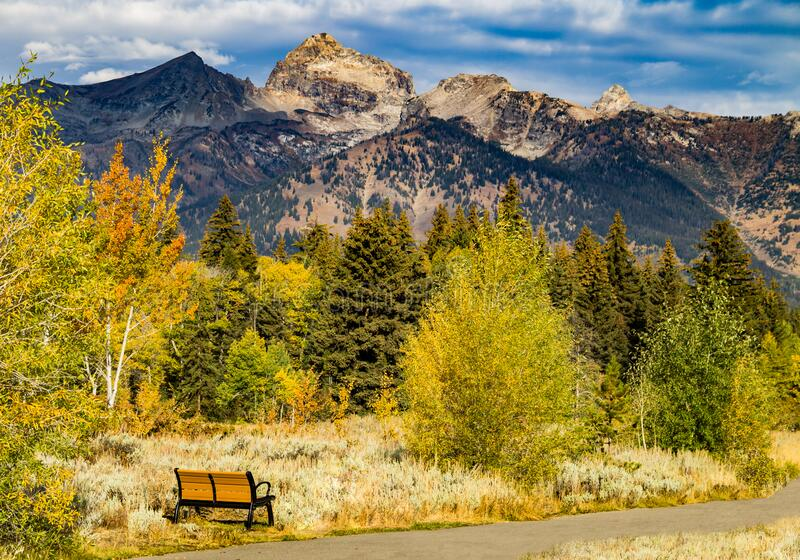View of the Grand Tetons from a Bench stock photography