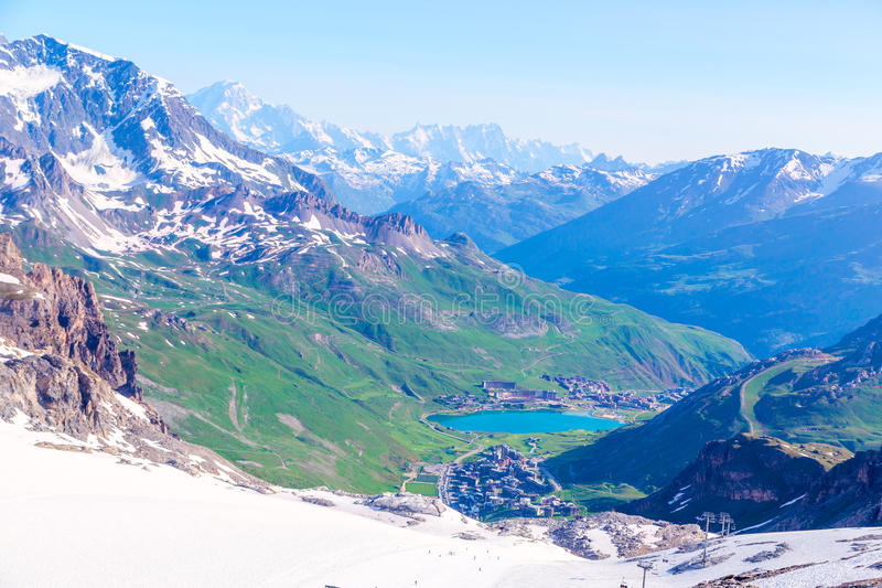 View from the Grande Motte glacier at Tignes,. Lake, mountains and Mont Blanc. French Alps stock image