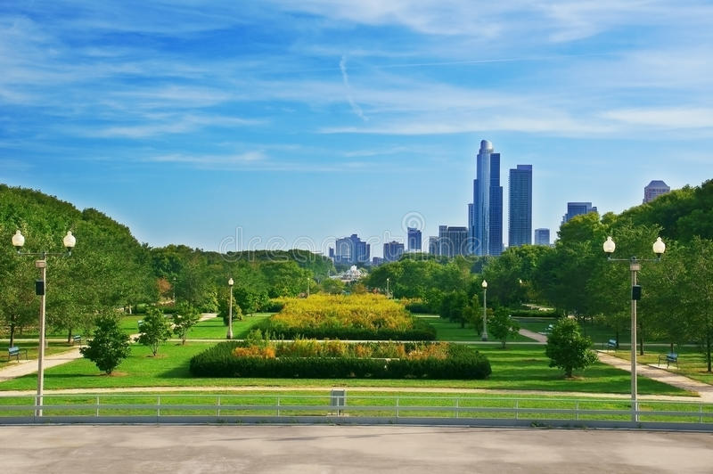 View of Grant Park (Chicago) stock photography