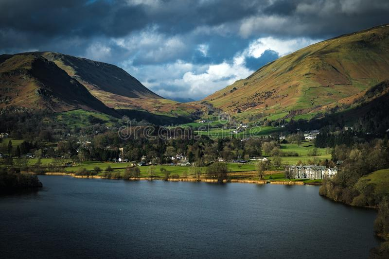 The view of Grasmere from Loughrigg Fell. In the English Lake District royalty free stock photos