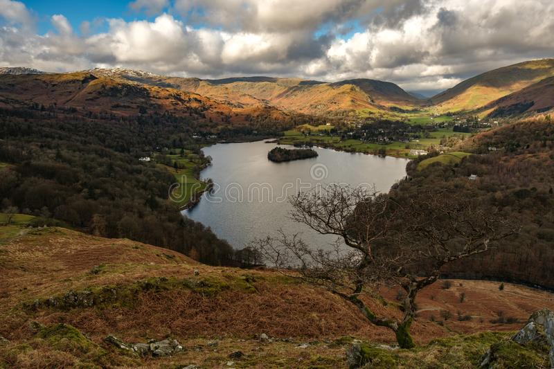View of Grasmere from Loughrigg Fell. English Lake District royalty free stock photography