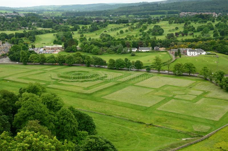 Kings Knot. A view of the grass landscape known as the Kings Knot in Stirling stock photography