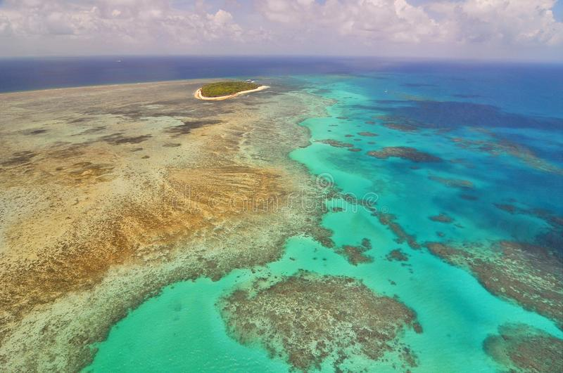 View of Great Barrier Reef and Green Island from helicopter, Queensland, Australia. stock image