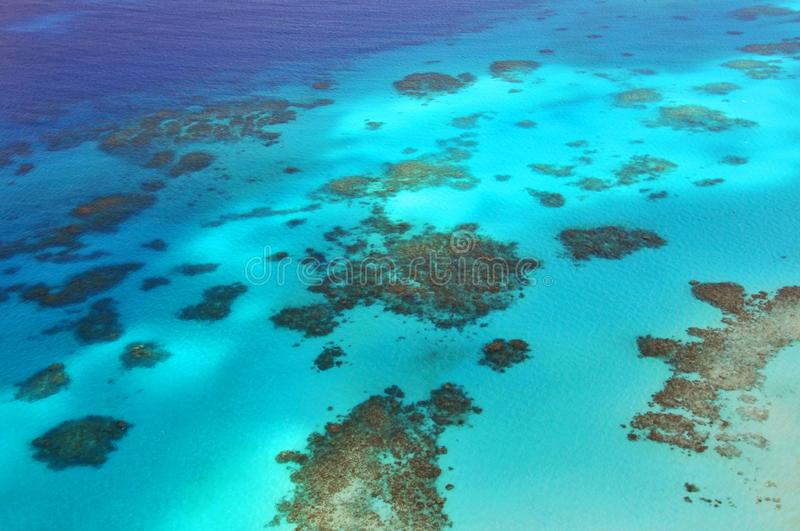 View of Great Barrier Reef from helicopter, Queensland, Australia. stock photo