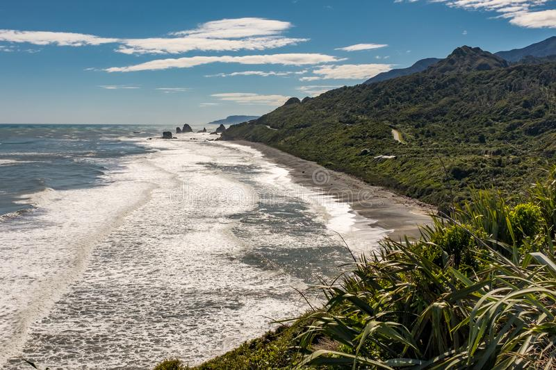 A view from the Great Coast Road of one of the many stunning beaches on the West Coast of the South Island, New Zealand stock photography