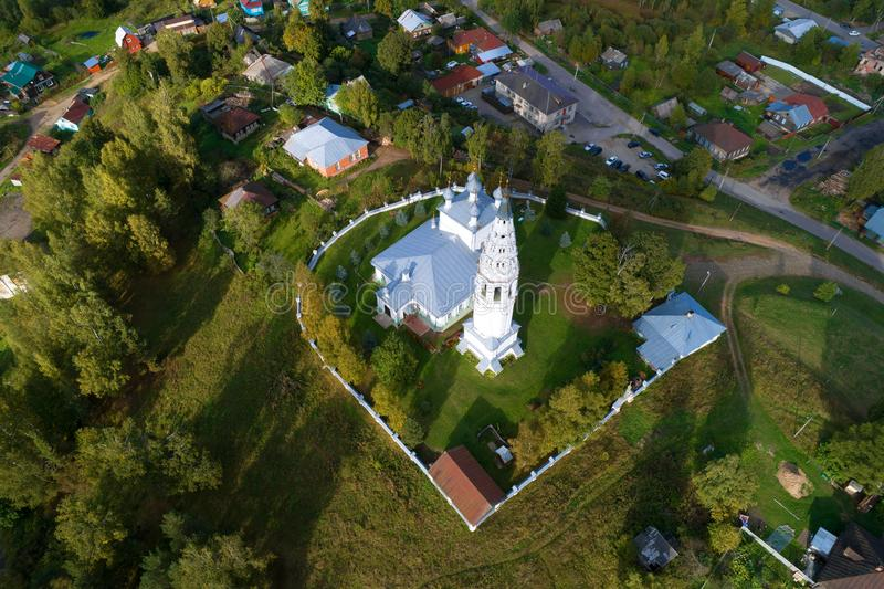 View from a great height on the Transfiguration of the Savior Cathedral aerial survey. Sudislavl, Russi stock photos