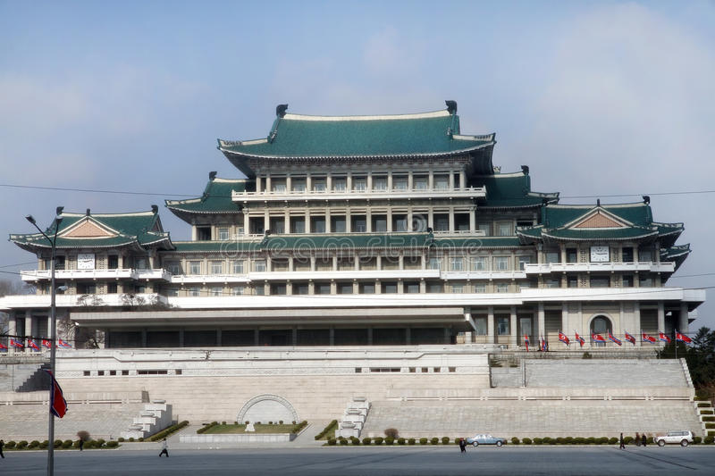 View of the Great Library of Pyongyang. View of the Great Library on the central square of Kim Il-Sung of Pyongyang - capital of the North Korea royalty free stock image