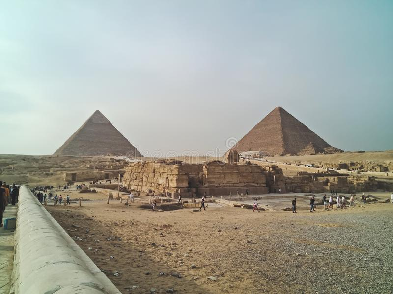 A view of the the Great Pyramids at Giza, Egypt royalty free stock images
