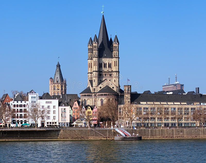 View on Great St. Martin Church in Cologne stock photos