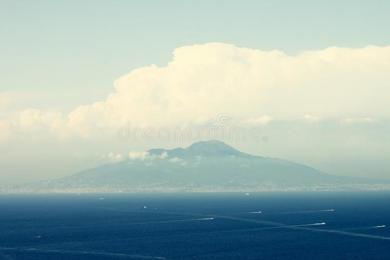 View of great volcano Vesuvius from Mediterranean Sea, Naples, Italy royalty free stock photo