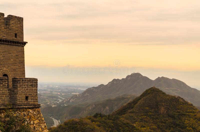 View of the Great Wall in Beijing, China on a cloudy day. stock image
