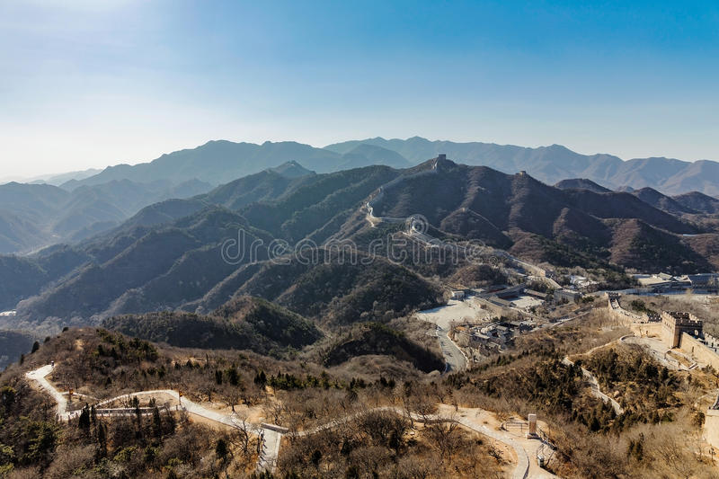 View from the Great Wall of China with mountains and hills royalty free stock photos