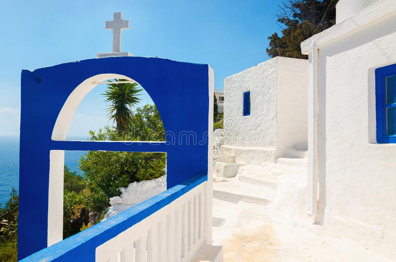 A view of a Greek church with iconic blue colors stock images