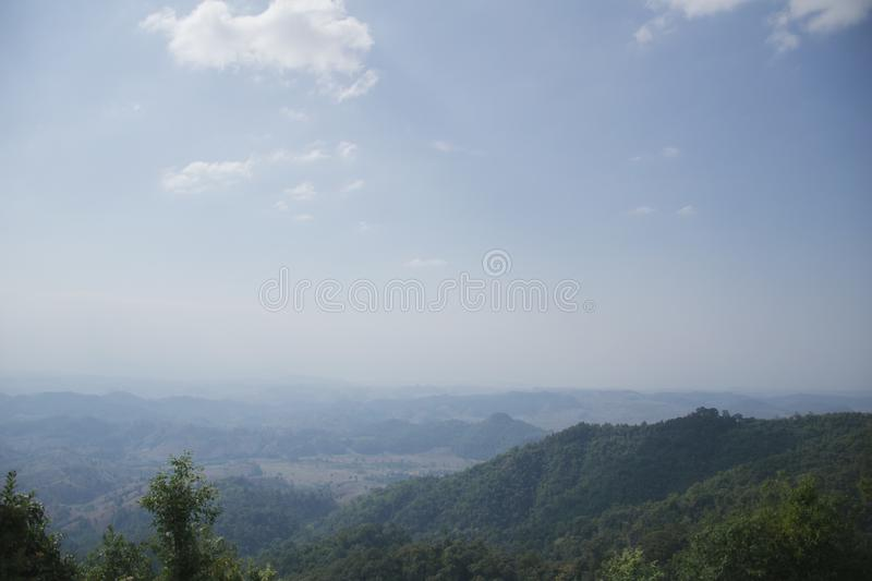 View of green mountain under mist and sky cloudy , Umphang Tak Thailand.  royalty free stock images