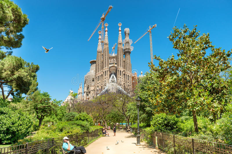 View from the green park to Sagrada Familia royalty free stock photography