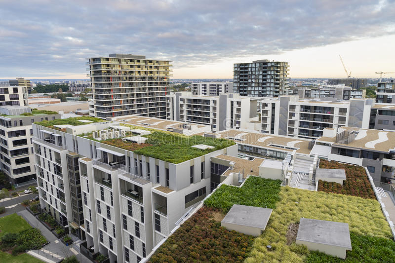 View of green roof on modern buildings in Sydney, Australia. View of green roof on modern buildings and other residential buildings in Sydney, Australia during royalty free stock photography