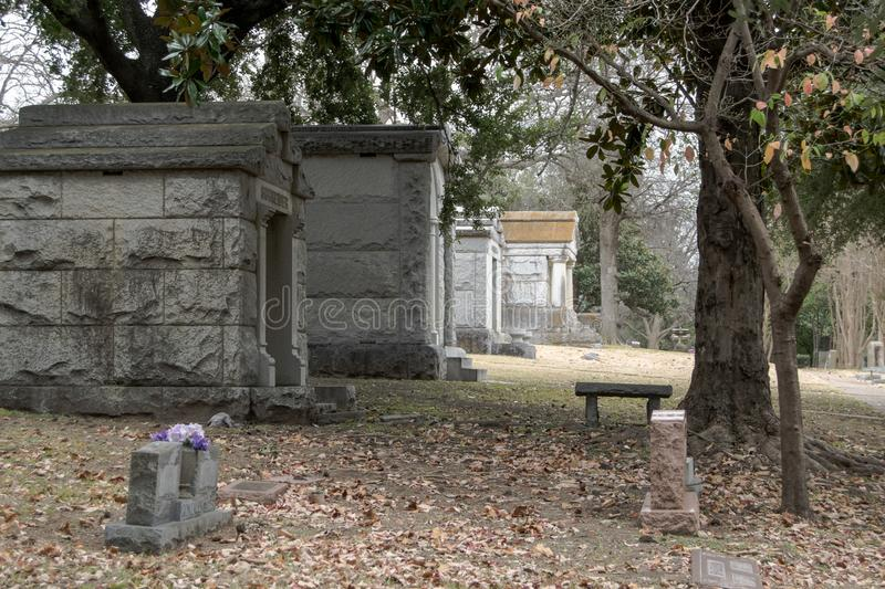 A cemetery in Dallas, Texas royalty free stock images
