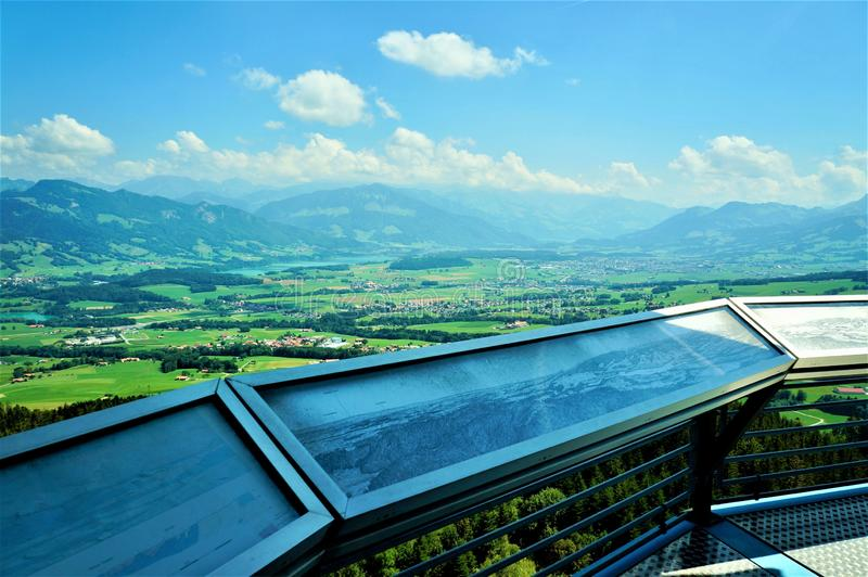 The Gruyere region, Switzerland. View of the Gruyere region, Pre Alps, Fribourg area, from the top of the Gibloux tower stock photo