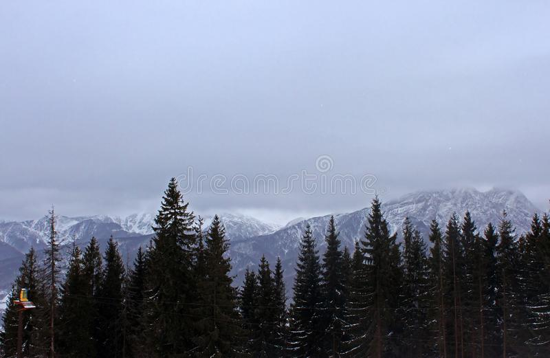 View from Gubalowka 1,126 m on Tatry mountains in snowing day, Zakopane stock image