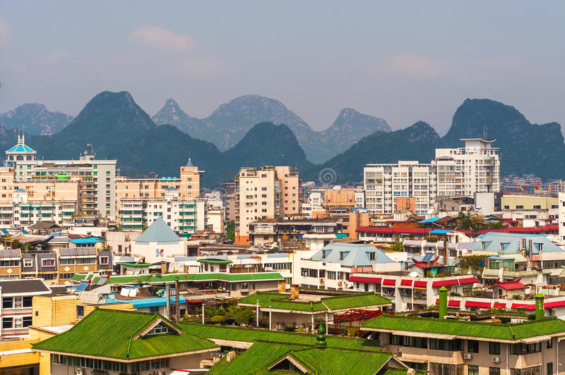 View of the Guilin city and the Karst mountains at the background. royalty free stock images