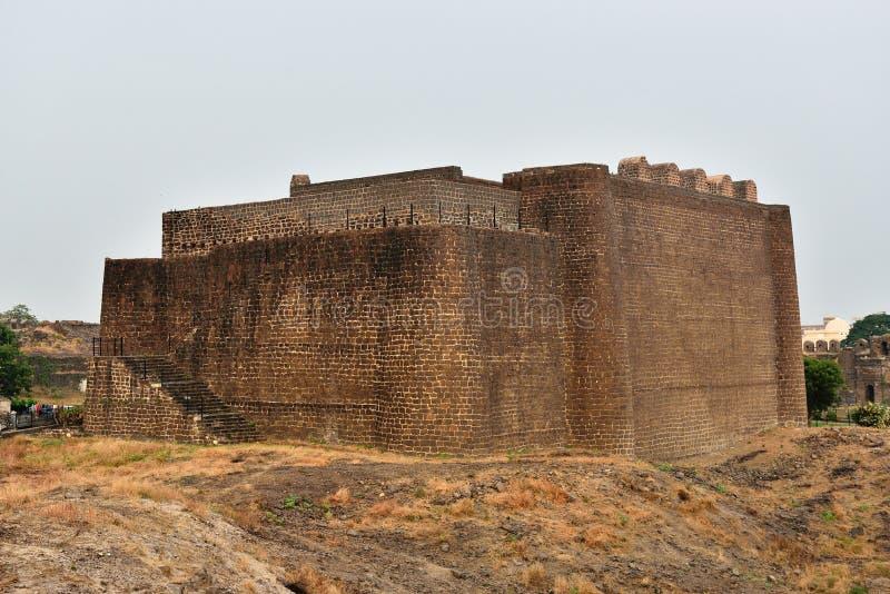 India, fort in Gulbarga. View of Gulbarga fortification built in 14th century, Karnataka, India stock photos