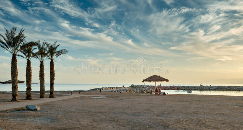 View on the gulf of Aqaba from the central beach of Eilat. Eilat is famous resort and recreational city in Israel stock photo