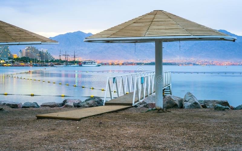View on the gulf of Aqaba from Eilat, Israel. Eilat is a famous resort city of Israel located on the northern edge of the gulf of Aqaba, Red Sea royalty free stock photography
