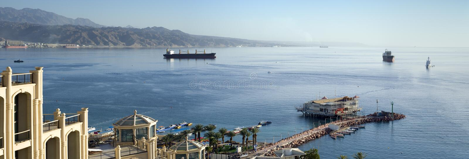 View on the gulf of Aqaba from Eilat, Israel royalty free stock photos