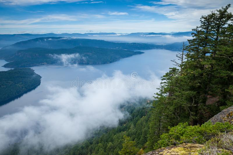 View of the Gulf Islands from Saltspring Island`s Mount Maxwell Provincial Park stock photos
