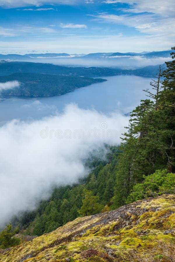 View of the Gulf Islands from Saltspring Island`s Mount Maxwell Provincial Park royalty free stock image