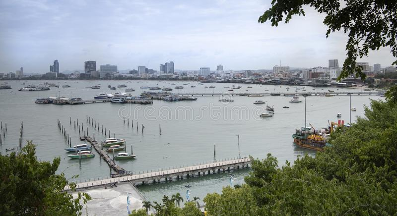 View of the Gulf of Siam and the city of Pattaya.Thailand - September 07, 2019.  royalty free stock image