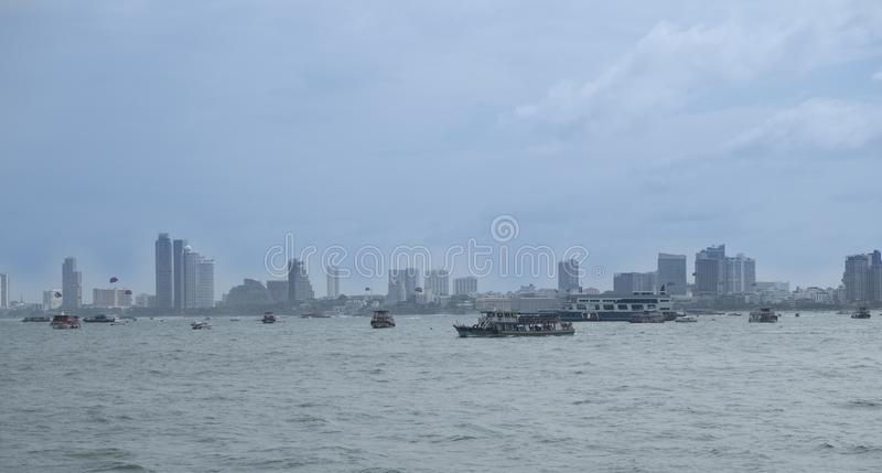 View of the Gulf of Siam and the city of Pattaya.Thailand - September 07, 2019.  royalty free stock photo