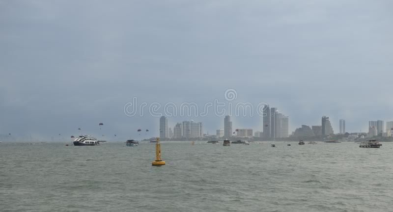 View of the Gulf of Siam and the city of Pattaya.Thailand - September 07, 2019.  stock image