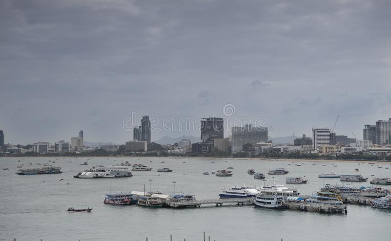 View of the Gulf of Siam and the city of Pattaya.Thailand - September 07, 2019.  royalty free stock photography