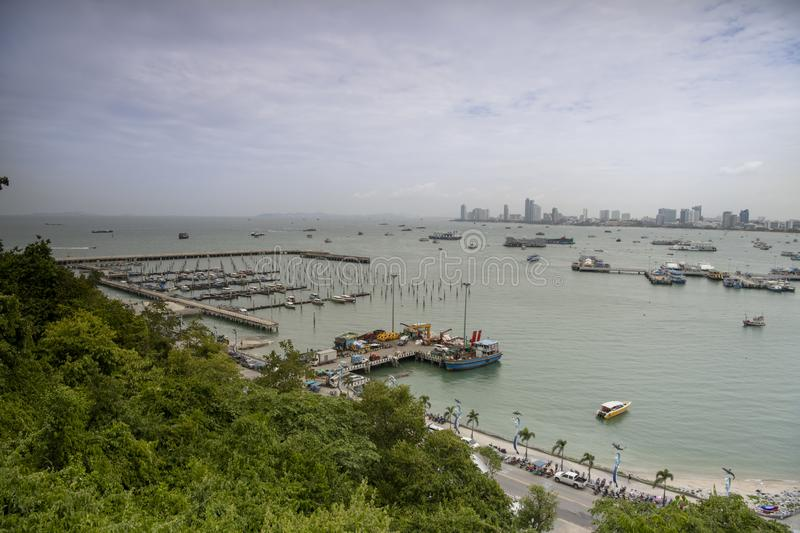 View of the Gulf of Siam and the city of Pattaya.Thailand - September 07, 2019.  royalty free stock images