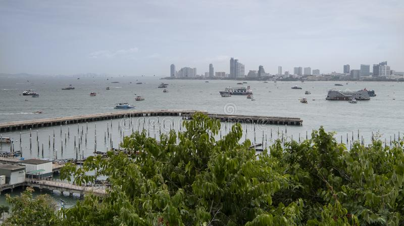 View of the Gulf of Siam and the city of Pattaya.Thailand - September 07, 2019.  stock photos