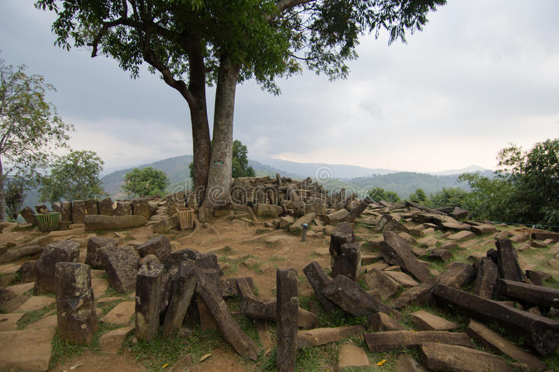 View Gunung Padang megalith site. Gunung Padang megalith site covers with stones that have pentagon shape royalty free stock image
