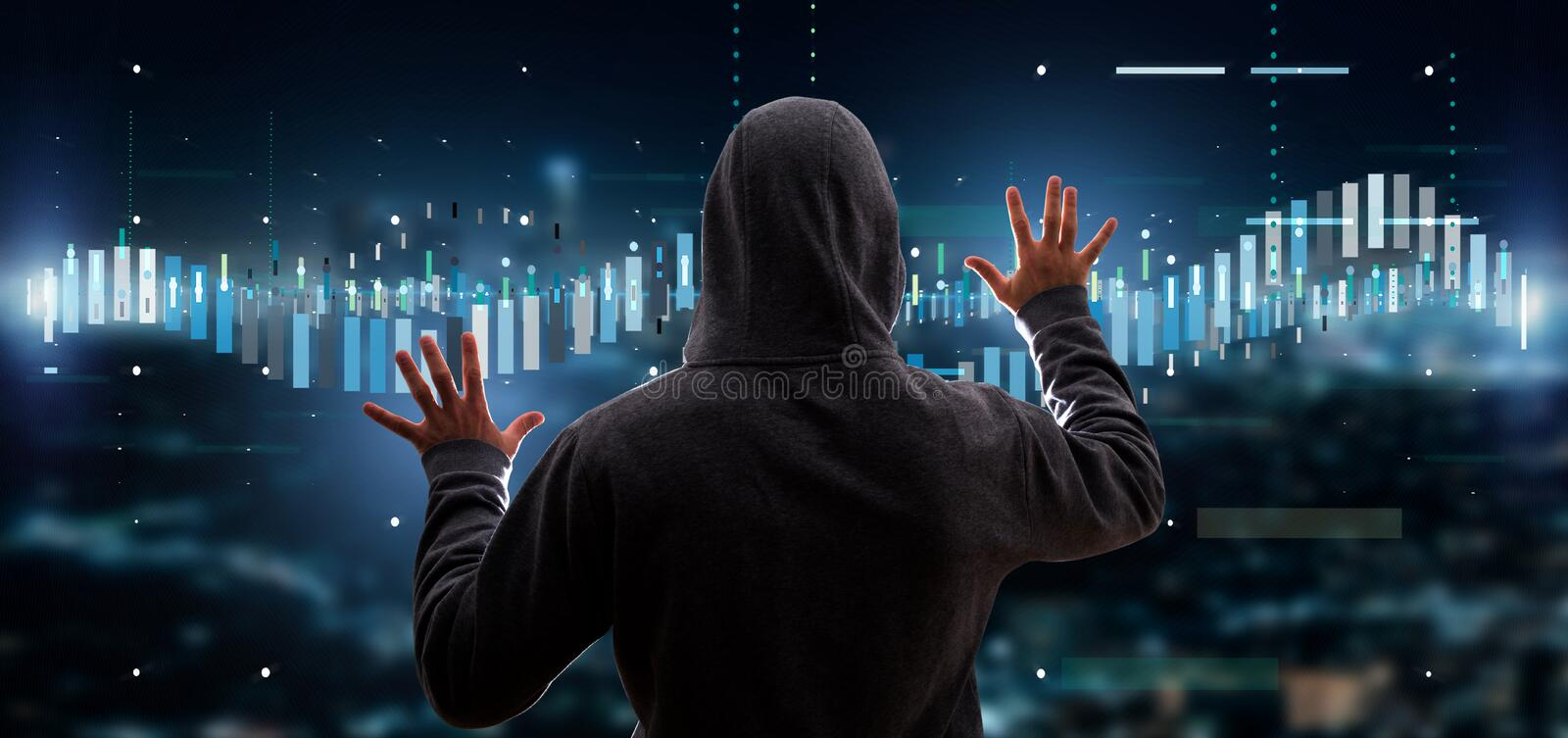 Hacker activating Business stock exchange trading data information. View of a Hacker activating Business stock exchange trading data information stock images