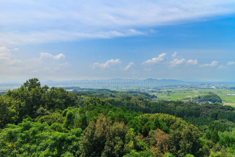 View from Haizuka observatory around kikuchi castle stock images