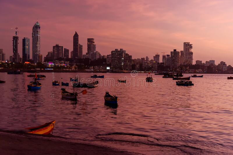 View of Haji Ali bay and coast with skyline at night. Mumbai. India. View of Haji Ali bay and coast with skyline at night in Mumbai. India stock image