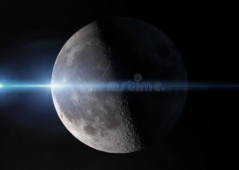 View of an half moon in space with stars 3D rendering elements of this image furnished by NASA. View of an half moon in space with stars in the background 3D vector illustration