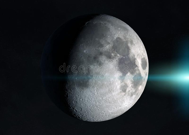 View of an half moon in space with stars 3D rendering elements of this image furnished by NASA. View of an half moon in space with stars in the background 3D stock illustration