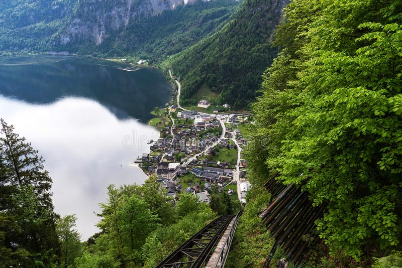 The view of Hallstatt from the observation deck in the summer morning, Salzkammergut district, Austria. royalty free stock photos