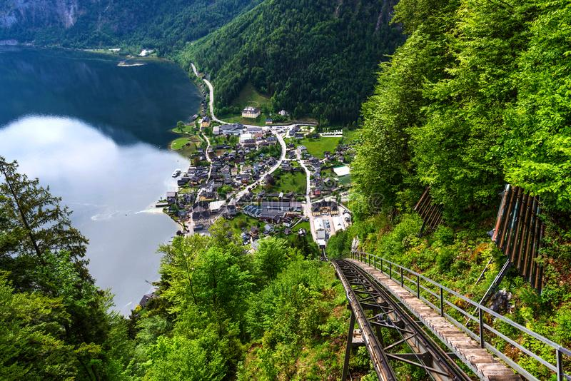 The view of Hallstatt from the observation deck in the summer morning, Salzkammergut district, Austria. stock image