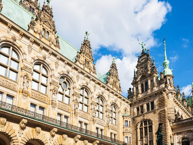 View of Hamburger Rathaus Cown Hall in Hamburg. Travel to Germany - view of Hamburger Rathaus Town Hall from courtyard in Hamburg city in september stock image