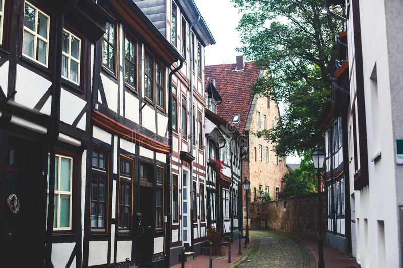 View of Hameln old town with market square and traditional german houses, Lower Saxony, Germany royalty free stock images